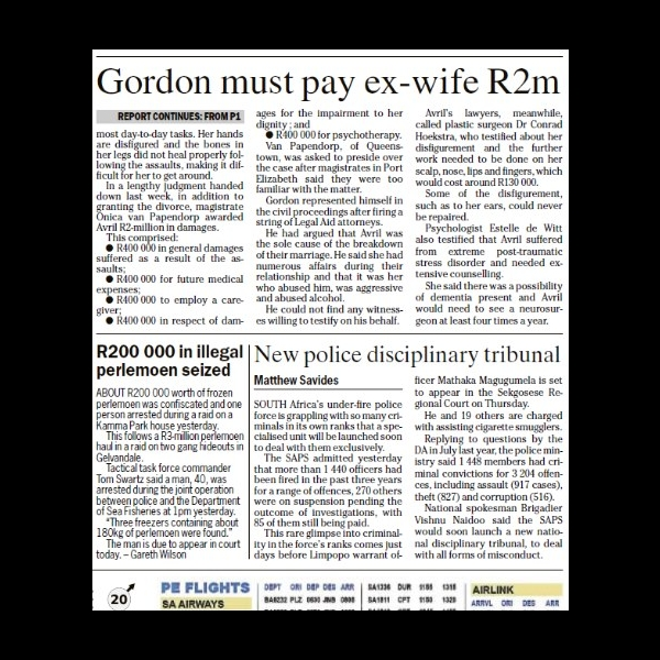 Gordon Must Pay Ex R2m - Newspaper Article