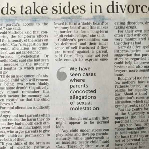 Making kids take sides in divorce